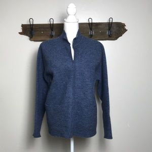 Eileen Fisher Cardigan Zippered Front Wool Blue
